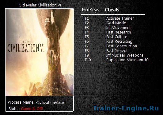 Читы для Sid Meier's Civilization 6: Трейнер (v1 0 0 328